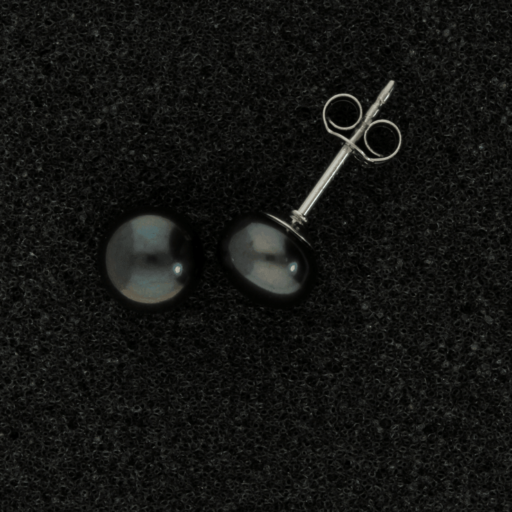 18ct White Gold 7-7.5mm Black Fresh Water Pearl Earrings