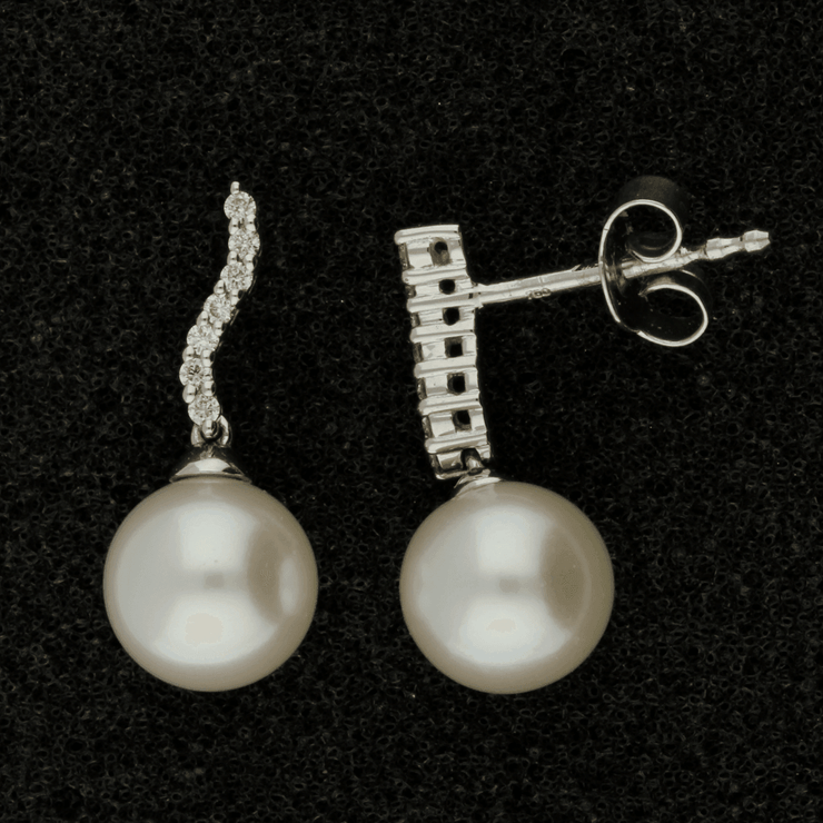 18ct White Gold 8-8.5mm Fresh Water Pearl & Diamond Earrings