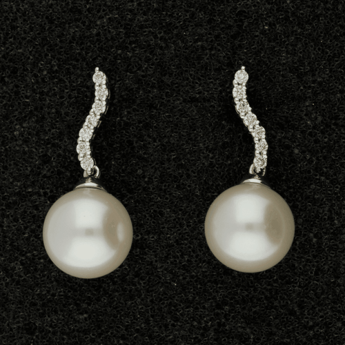 8-8.5mm Fresh Water Pearl & Diamond 18ct Earrings