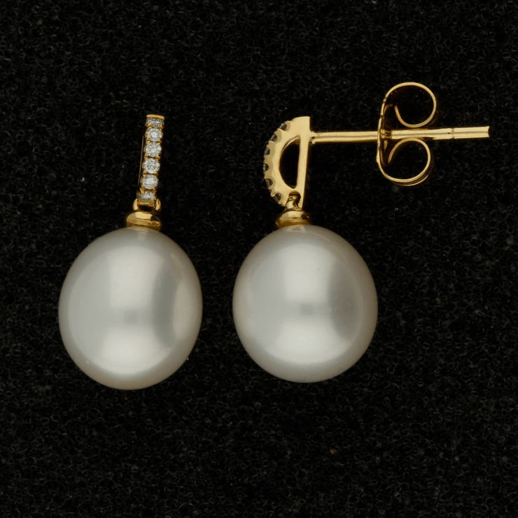 8.5-9mm Fresh Water Pearl & Diamond 18ct Earrings