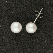 18ct White Gold 7-7.5mm White Fresh Water Pearl Earrings