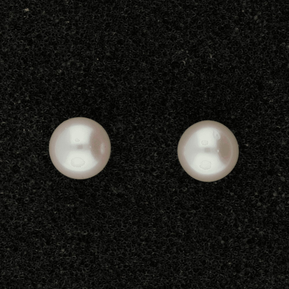 7-7.5mm White Fresh Water Pearl & 18ct Stud Earrings