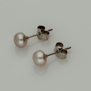 5-5.5mm Pink Fresh Water Pearl & 18ct Stud Earrings
