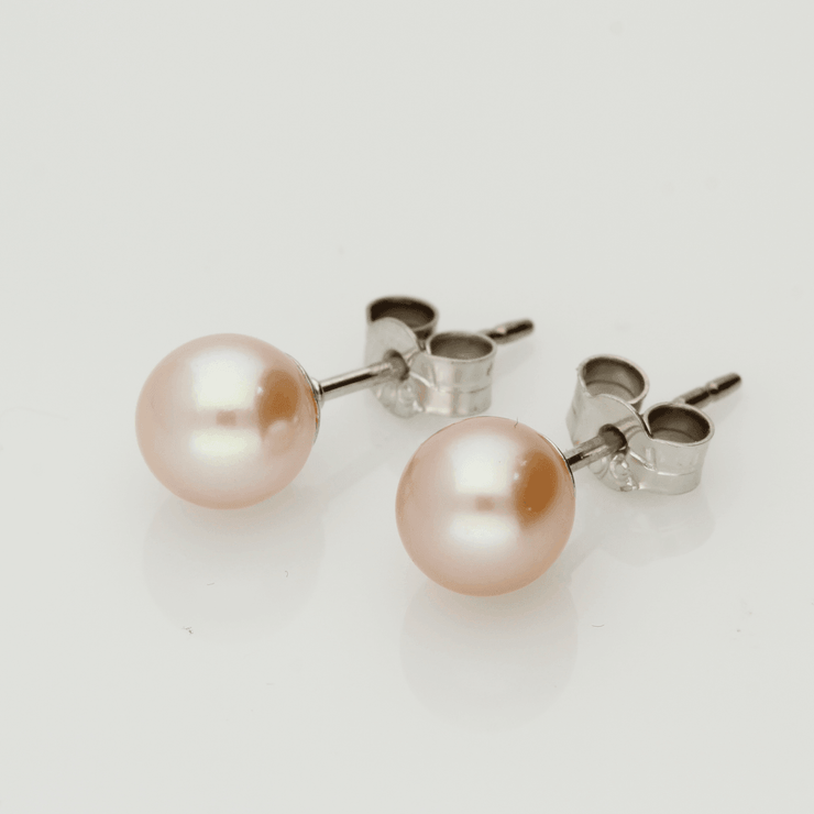 18ct White Gold 6.5-7mm Pink Fresh Water Pearl Earrings