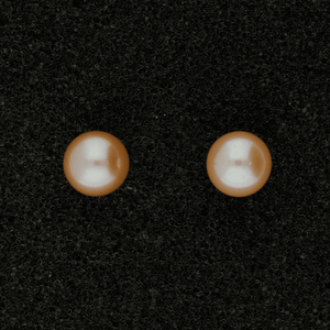 6.5-7mm Pink Fresh Water Pearl & 18ct Stud Earrings