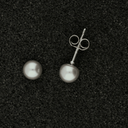 18ct White Gold 5-5.5mm Grey Fresh Water Pearl Earrings