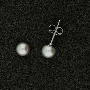 5-5.5mm Grey Fresh Water Pearl & 18ct Stud Earrings