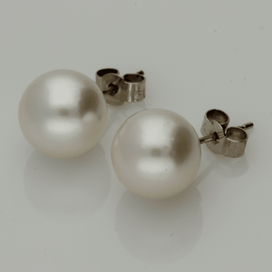 10-10.5mm Southsea Pearl Stud 18ct White Gold Earrings