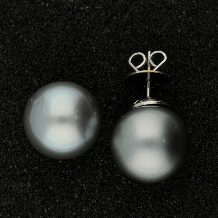 13mm Tahitian Pearl Pale Blue 14ct Stud Earrings