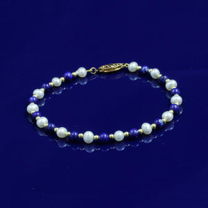 4-5mm Lapis Lazuli & White Fresh Water Pearl Bracelet with 18ct Gold Beads