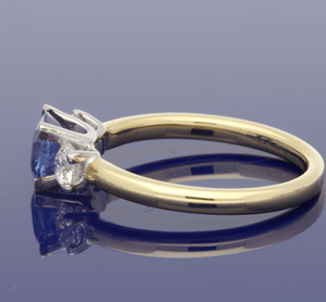 18ct Yellow Gold Sapphire & Diamond Trilogy Ring