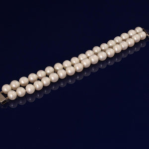 White Fresh Water Pearls 9.5-10mm, Double Row Bracelet With Silver Clasp
