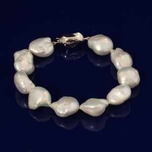 10-12mm Silver/Blue Baroque Fresh Water Pearl Bracelet