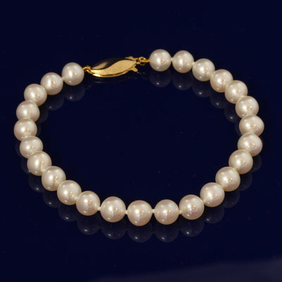 6.5-7mm White Fresh Water Pearl Bracelet