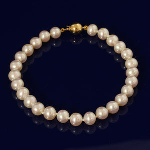 6-6.5mm White Fresh Water Pearl Bracelet