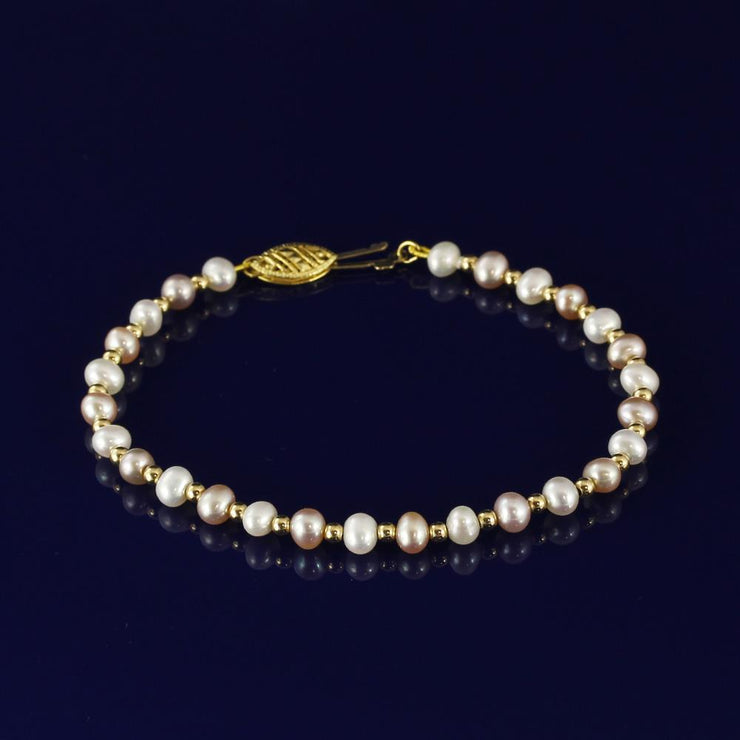 4-5mm Pink & White Fresh Water Pearl Bracelet with 18ct Gold Beads