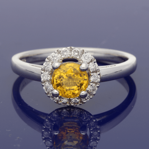 Platinum Yellow Sapphire & Diamond Halo Ring