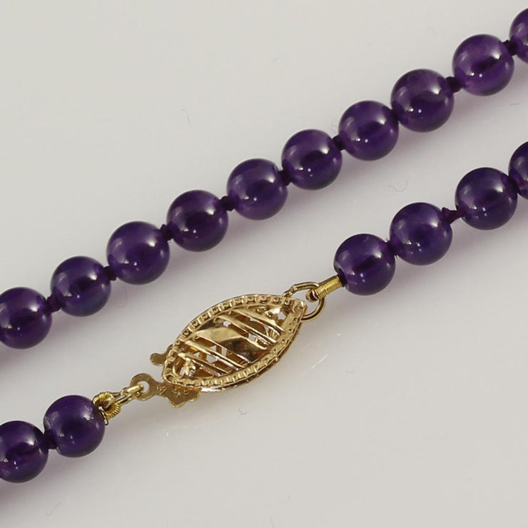 "Amethyst 18"" Bead Necklace with 18ct Clasp"