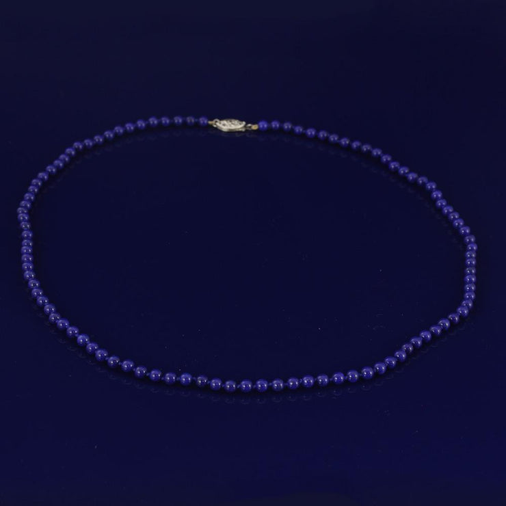 "Lapis Lazuli 20"" Bead Necklace with 18ct Clasp"