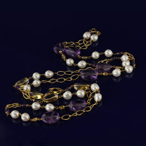 18ct Gold Long Necklace with Amethyst, Citrine & Fresh Water Pearls