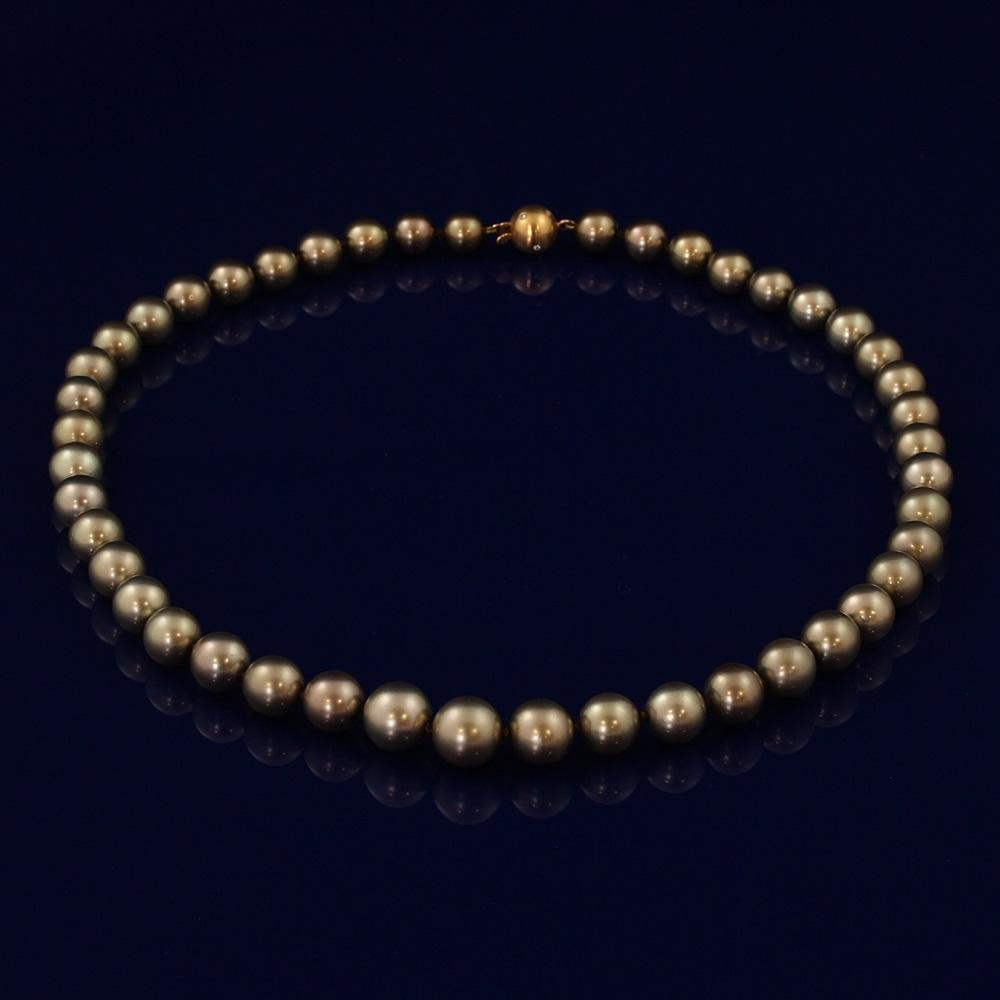 10-11mm Brown Akoya Pearl Necklace with Diamond Clasp