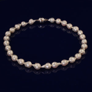 11-12mm White Baroque Fresh Water Pearl Necklace