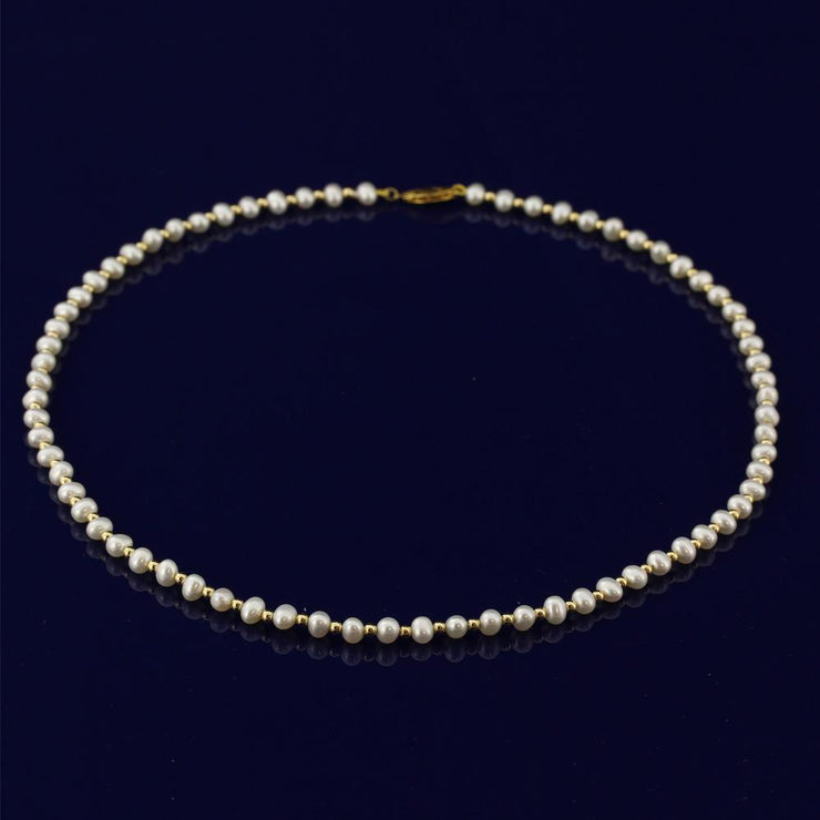 "4-5mm White Fresh Water Pearl 18"" Necklace with 18ct Gold Beads"