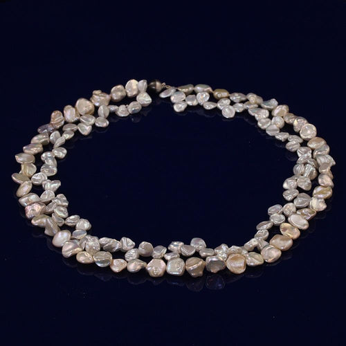 Double Row Multi Colour Keshi Fresh Water Pearl Necklace