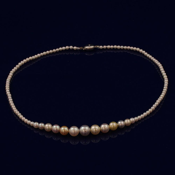 Graduated Cultured Akoya Pearl Necklace with Natural Pastel Colours