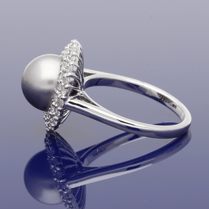 18ct White Gold Tahitian Pearl & Diamond Ring