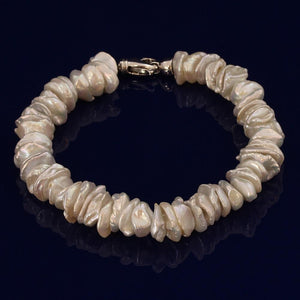 White Keshi Fresh Water Pearl Bracelet With Silver Clasp