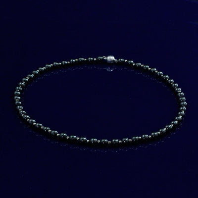 "Hematite & Silver Bead 17"" Necklace With Silver Magnetic Clasp"