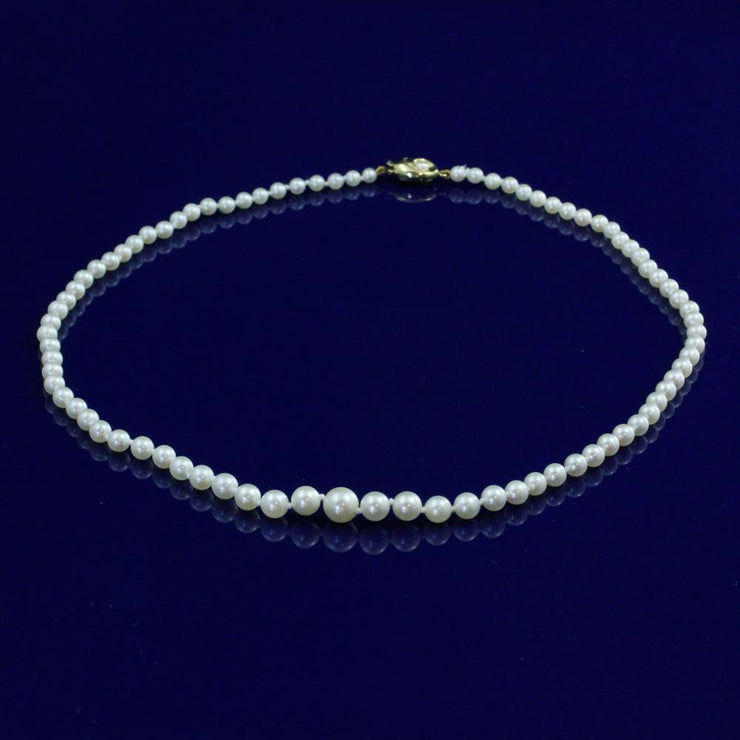 "Graduated Akoya Pearl 18"" Necklace With 9ct Gold Clasp"