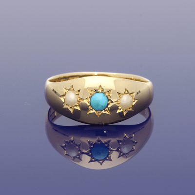 18ct Yellow Gold Antique Turquoise & Pearl Gypsy Ring