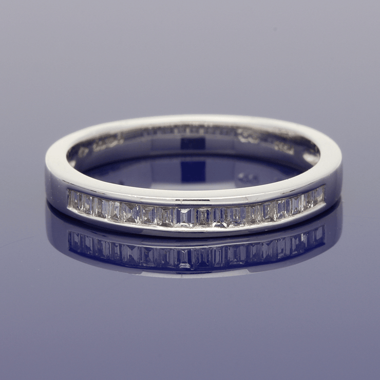 Platinum Baguette Cut Diamond Channel Set Eternity Ring