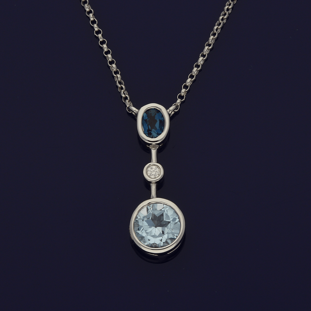 9ct Contemporary Topaz and Diamond Necklace