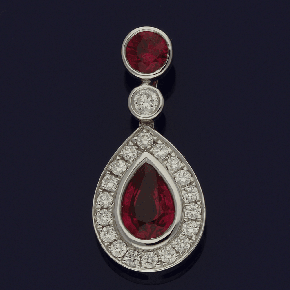 18ct White Gold Pear Shape Ruby & Diamond Pendant