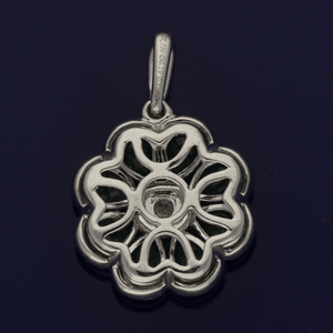 18ct White Gold Emeralds & Diamond Floral Pendant