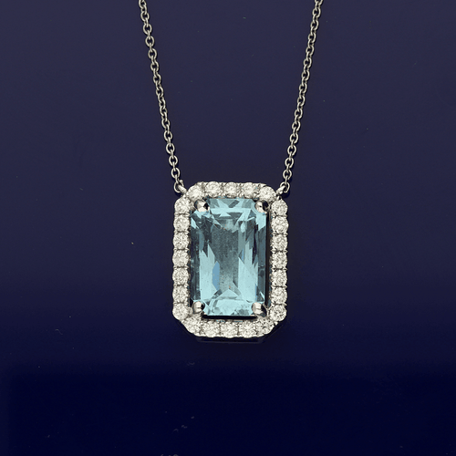 18ct White Gold Rectangular Cut Aquamarine and Diamond Necklace