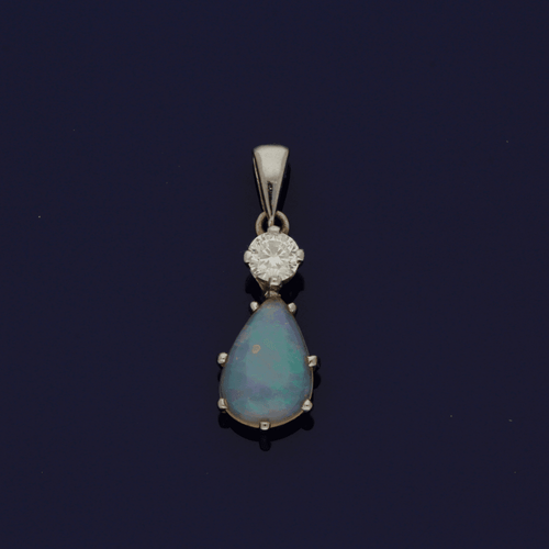 18ct White Gold  Opal & Diamond Pendant