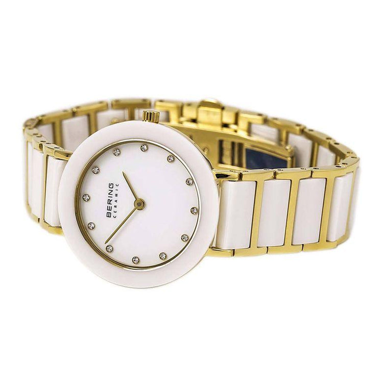 Ladies 29mm 2 Tone Ceramic and Gold PVD Stainless Steel Bering Bracelet Watch