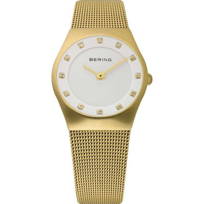 Ladies Classic 27mm Gold PVD Stainless Steel Bering Mesh Bracelet Watch