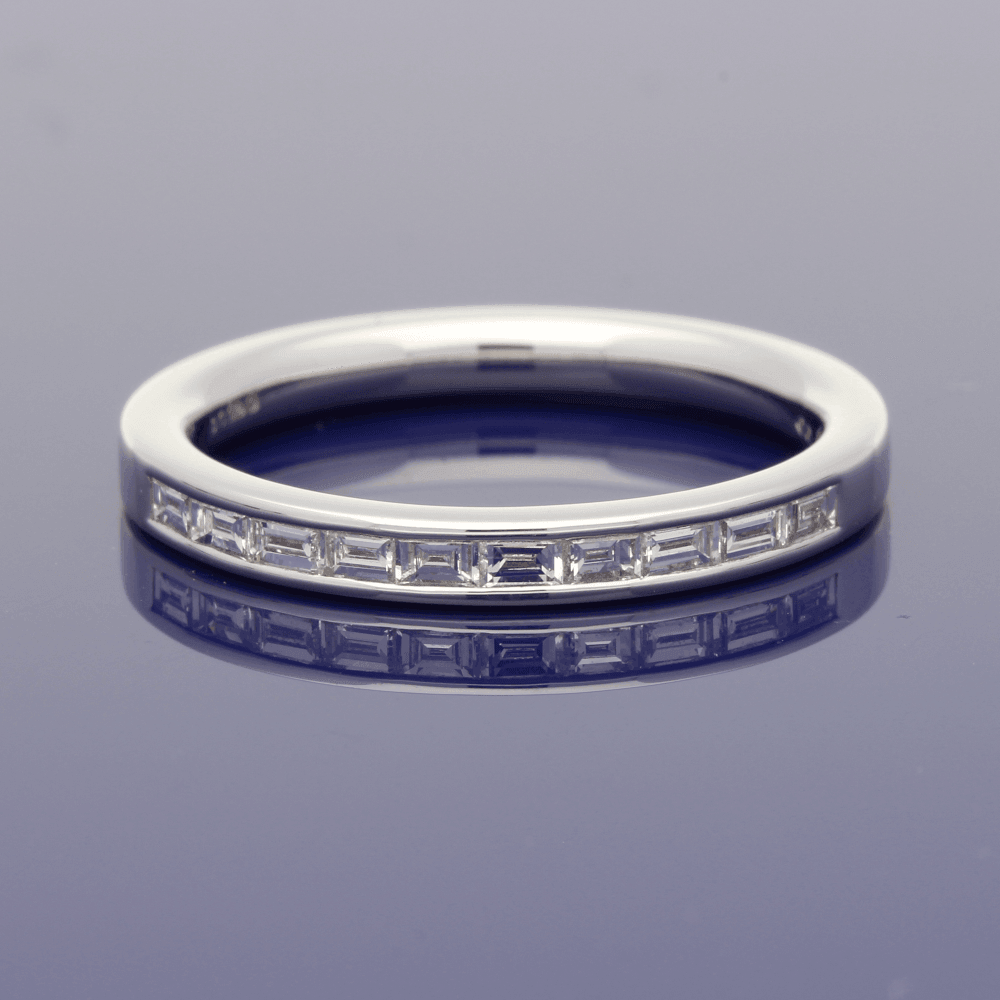 18ct White Gold Baguette Cut Diamond Channel Set Eternity Ring
