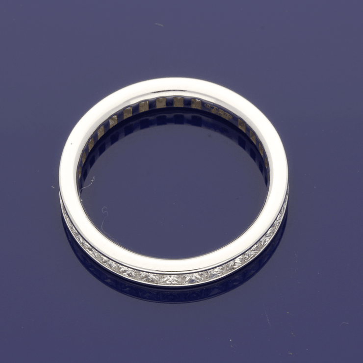 18ct White Gold Princess Cut Diamond Full Eternity Ring