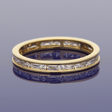 18ct Yellow Gold Baguette & Round Brilliant Cut Diamond Full Eternity Ring