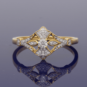 18ct Yellow Gold Diamond Art Deco Style Cluster Ring