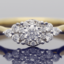 18ct Yellow Gold Diamond Navette Cluster Ring