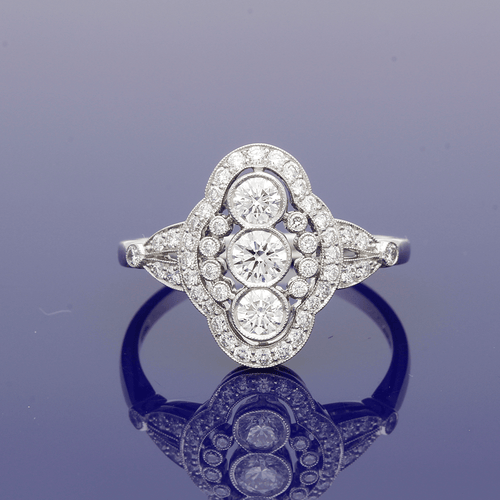Platinum Diamond Arts Deco Style Ring