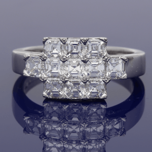 Platinum Asscher Cut Diamond Cluster Dress Ring