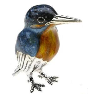 Silver Enamel Kingfisher - Small